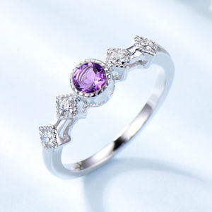 Amethyst Art Deco Engagement Ring Silver Ring